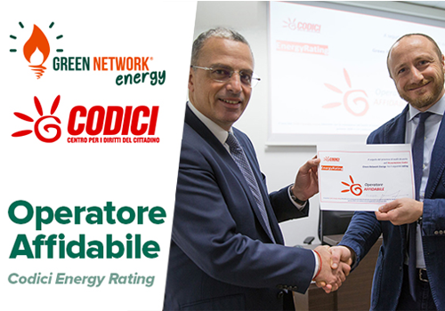 """L'associazione per i consumatori """"CODICI"""" attribuisce a Green Network la valutazione di operatore affidabile"""